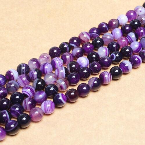 4//6//810mm Natural Purple Striped Agate Gem Stone Loose Spacer Beads Jewelry DIY