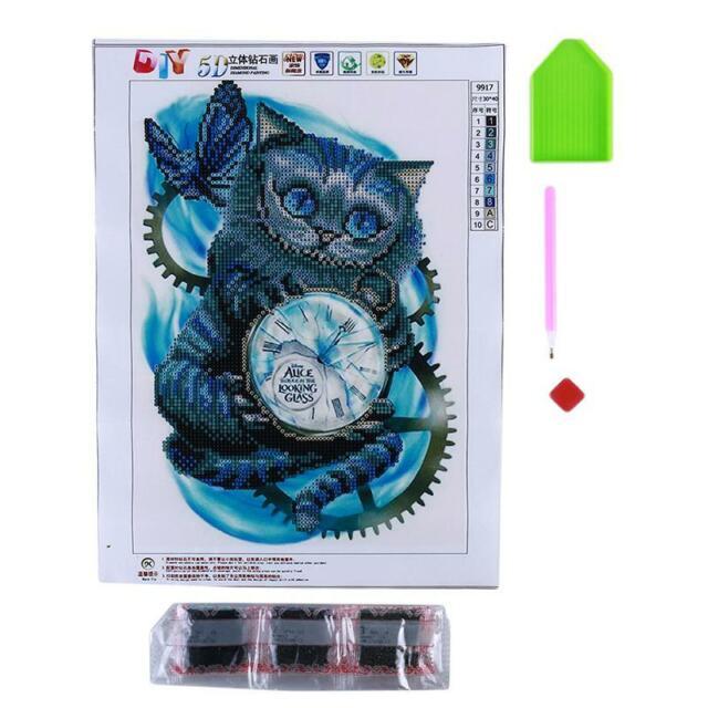 Cat Clock Crystal Rhinestone... DIY 5D Diamond Painting by Number Kit
