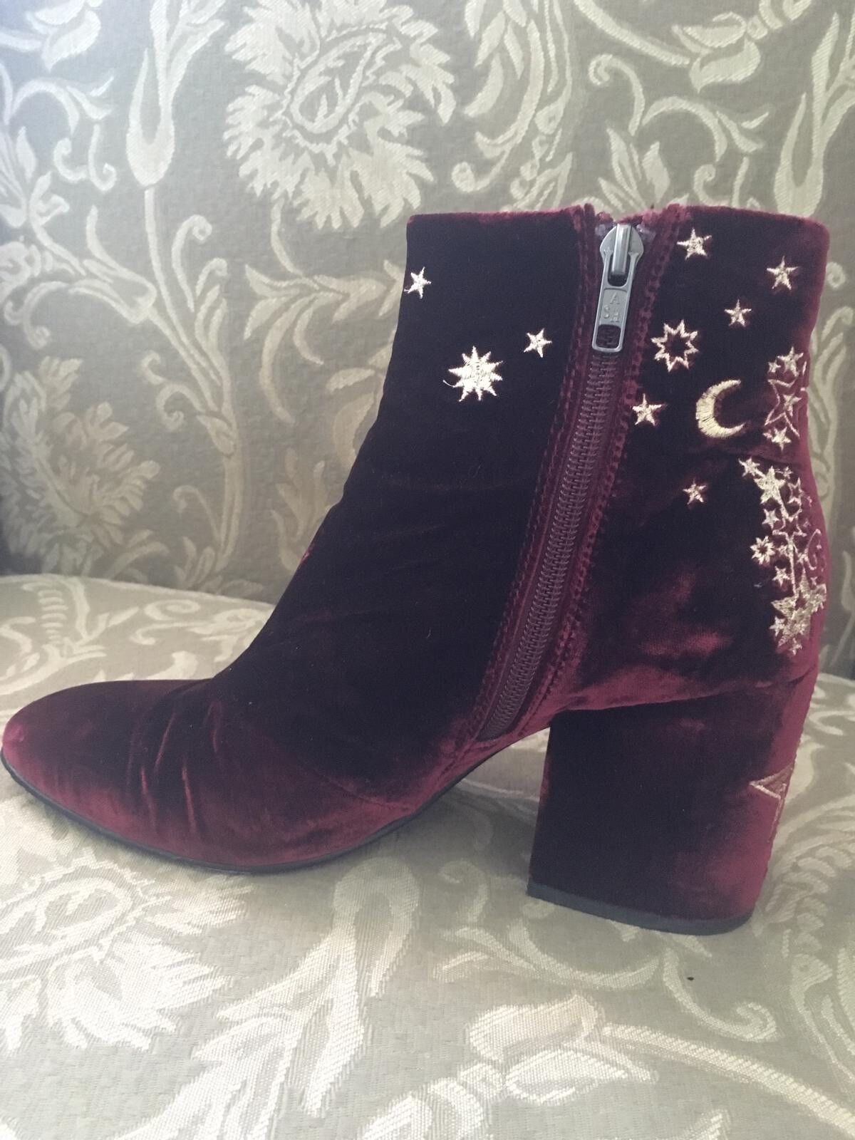 Ash Wine Velvet gold Star Embroidery Ankle Ankle Ankle Boot 39 6d885a