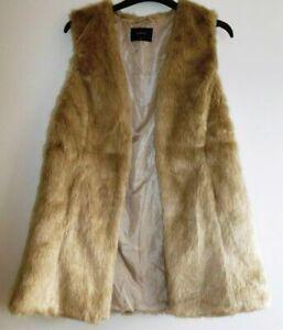 FUNKY-WARM-ladies-size-8-Papaya-sleeveless-faux-fur-open-front-GILLETT-BEIGE