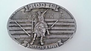 Rodeo-Americas-1-Sport-Vintage-Metal-Mens-Belt-Buckle-1977-Bergamot-Brass-Works