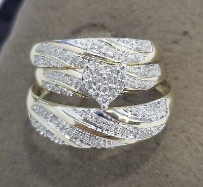 2Ct His Her Diamonds Wedding Ring Bands Trio Bridal Set 10k Yellow Gold Finish