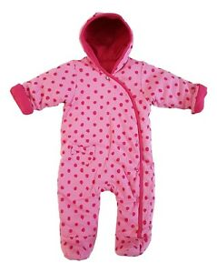 Baby-Girls-Pramsuit-Snowsuit-Winter-Coat-Warm-Hooded-Fully-Lined-Pink-Spot-NEW