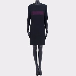 LANVIN-1250-Authentic-New-Silk-Blend-Black-Chest-Stripe-Shift-Dress