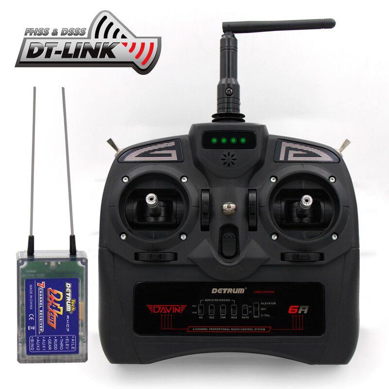 Detrum Gavin - 6A 6CH conjunto de transmisor de radio control con adaptador de simulador (TX+RXC7)