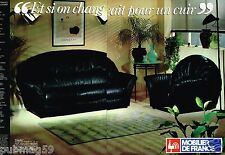 Publicité advertising 1987 (2 pages) Mobilier de France canapé cuir