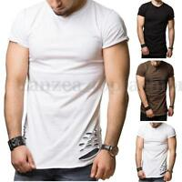 INCERUN Mens Muscle T-Shirt Short Sleeve T Shirts Casual Holes Graphic Tee Tops