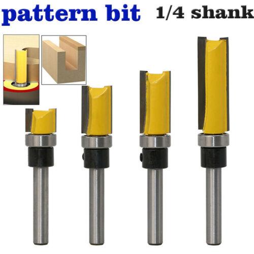 4pcs 1//4 Shank Flush Milling Router Copy Router Router Bit Groove End Mill Steel