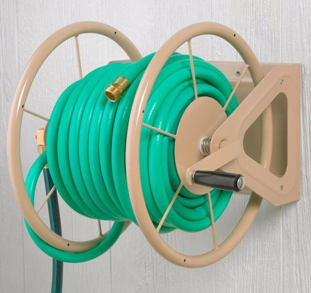 Hose Reel Retractable Water Hose Storage Garden Hand Crank 200 ft ...
