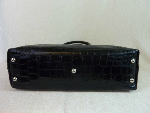 NWT FURLA Onyx Black Distressed Croc Emb Leather Martha Shoulder Tote Bag $348