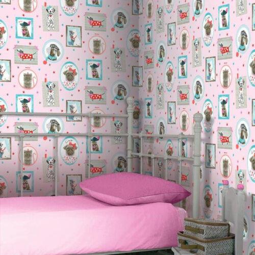 Hall of fame cadre photo motif animal chat chien paillettes papier peint 668401 rose