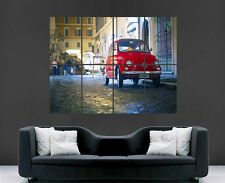 FIAT 500 PX  POSTER CLASSIC STREET LIGHTS CAR RED WALL ART PICTURE PRINT LARGE