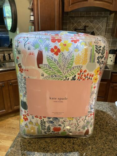 New Kate Spade Cat In The Garden King Comforter Set (3-Pc)