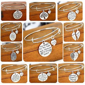 Women Men Bangle Jewelry Family Love Silver Plated Pendant Heart Charm Bracelet