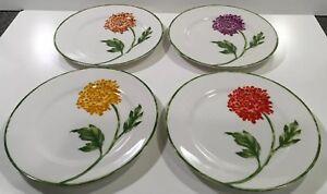 Pier-1-Chrysanthemum-Fall-Floral-4-Dessert-Salad-Plates-7-75-Porcelain-4-Colors