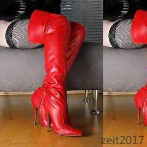 48 47 Gelb Damen Wildleder Stilettos Overknee Stiefel Nightclub Zip Spitz Schuhe