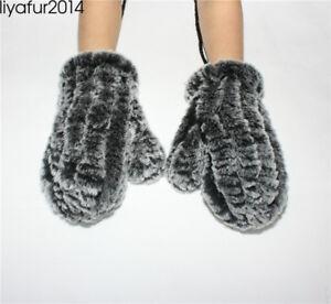 Women/'s Real Rex Rabbit Fur Winter Warm Knitted Gloves Mittens w//hanging string