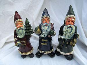 Gnome-Santa-Claus-Miniature-Figurine-Figure-Gift-Set-Christmas-Country-Primitive