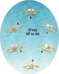 1/2 DOZ STERLING SILVER or GOLD FILLED RINGS - HEARTS w/AUSTRIAN CRYSTAL (#3714)