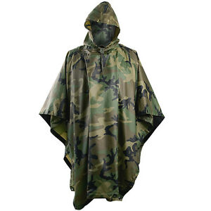 HOODED-RIPSTOP-WATERPROOF-MILITARY-PONCHO-ARMY-FESTIVAL-HELIKON-WOODLAND-CAMO