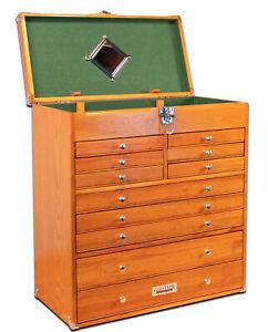 Gerstner-International-11-Drawer-Oak-Veneer-Tool-22-034-Top-Chest-Green-Felt-Liner