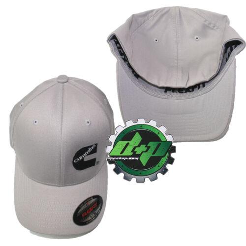 S//M Silver Dodge Cummins flexfit hat ball cap fitted flex fit gear ram Lt Gray
