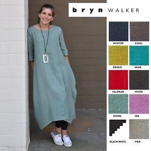 5a986b8880c Image is loading BRYN-WALKER-Light-Linen-PILKINGTON-DRESS-Artsy-Drape-