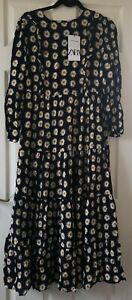 Zara-Women-039-s-Black-Daisy-Floral-Print-Maxi-Dress-Size-M-Medium-New-With-Tags