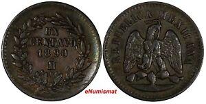 Mexico SECOND REPUBLIC Copper 1890 Mo Centavo  KM# 391.6