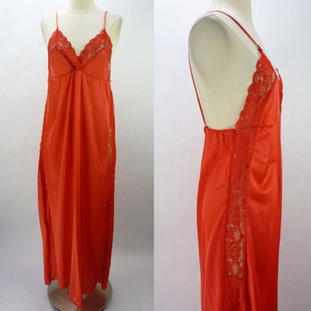 Vintage 80s Sear Lipstick Red Long Nightgown Sheer Lace Panel Sides Slits M
