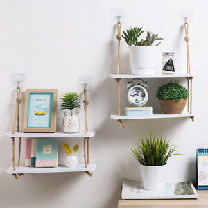 Wall-Hanging-Hemp-Rope-2-Layer-Partition-Board-Rack-Shelves-Holder-Home-Ornament