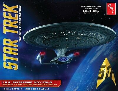 AMT Star Trek USS Enterprise 1701-D Clear 1/1400 model kit 955 DAMAGED BOX *