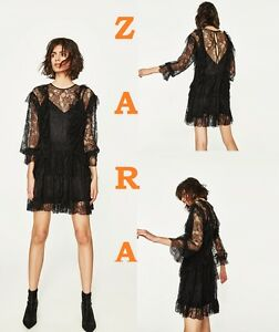 801b76aa Zara Black Lace Frill Long Ruffled Sleeve Mini Double Dress Size XS ...