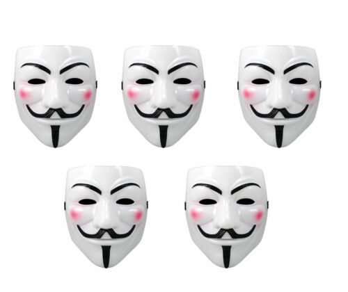 5pk White Anonymous Fawkes Mask V for Vendetta Purge Halloween Masks