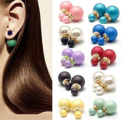 1 Pair Elegant Design Fashion Man Made Double Pearl Earrings Ear Studs 9 Colors