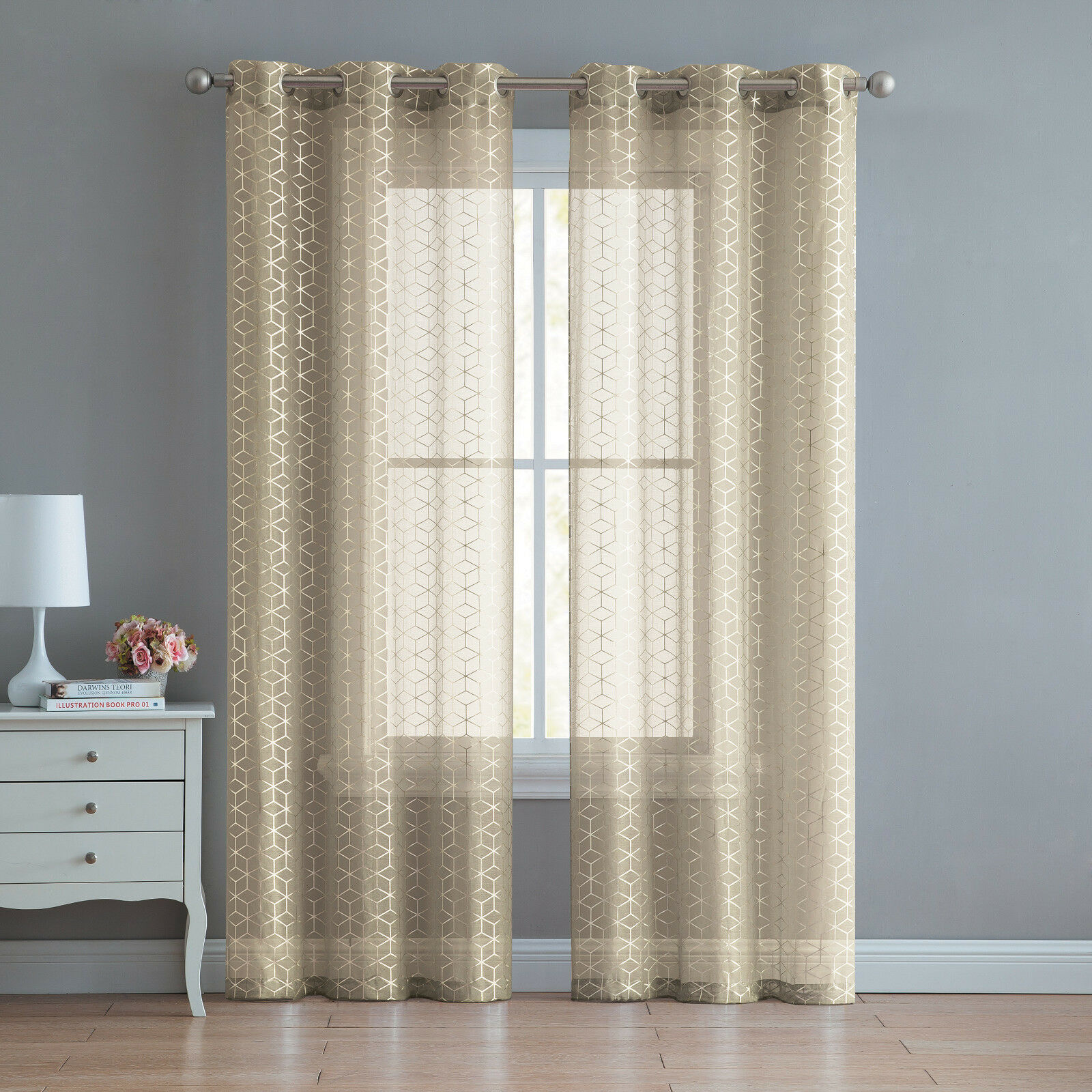 2 Pack: Metallic Geo Semi Sheer Grommet Window Curtain - Assorted Sizes & Colors