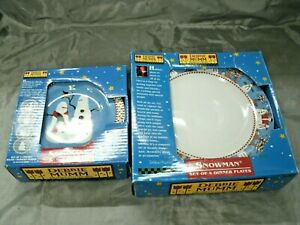 Sakura-SNOWMAN-Debbie-Mumm-Christmas-Set-of-4-Dinner-amp-Salad-Plates-Disc-039-d