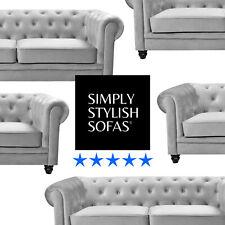 RUTLAND Silver Grey Plush Velvet Chesterfield Sofa 3 + 2 Seaters + Armchairs