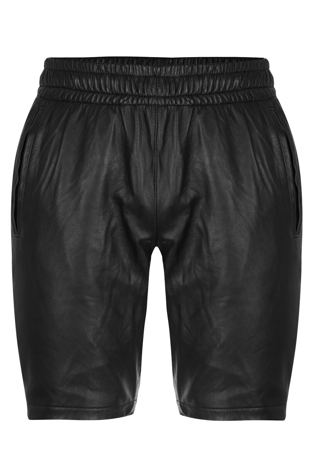 Bermuda schwarz SHORTS Leder Ledershorts Freizeithose