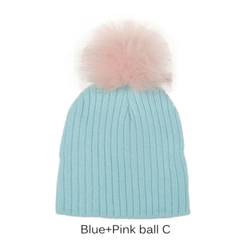 Cute Baby Cap Faux Pompom Fur Hat Girls Boys Crochet Kids Knitted Cap
