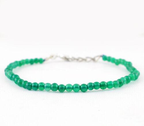 Beau 31.50 cts Earth mined riche vert émeraude de forme ronde perles bracelet