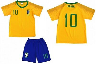 Brasile T-Shirt Bambini Set Kindertrikot Calcio Squadra Maglia Jersey Nr.10