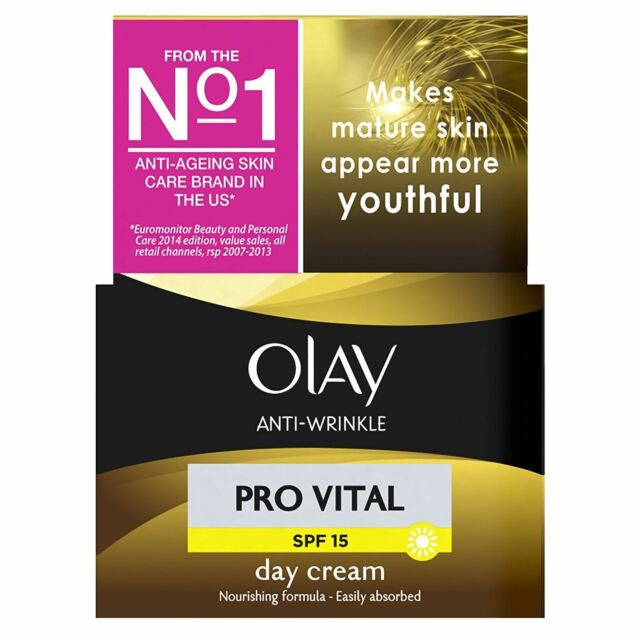 Olay Anti-Wrinkle Day Cream Pro Vital Anti-Ageing Moisturiser SPF15 Mature 50ml