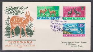 SUPERBE-FDC-1ER-JOUR-AFRIQUE-BOSTWANA-SERIE-1967-ANTILOPE-CHOBE-RESERVE-ELEPHANT