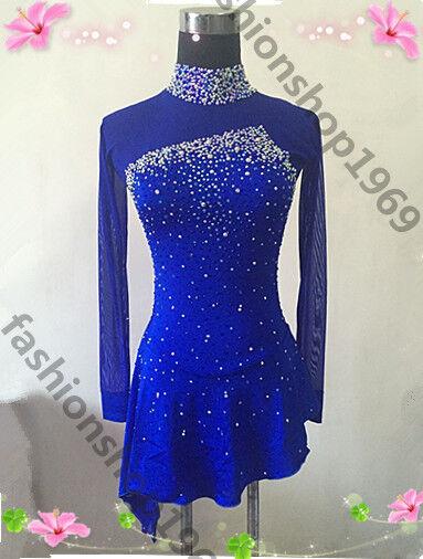 bluee  Ice Figure Skating Dress  Baton Twirling Dance Dress Competition xx341