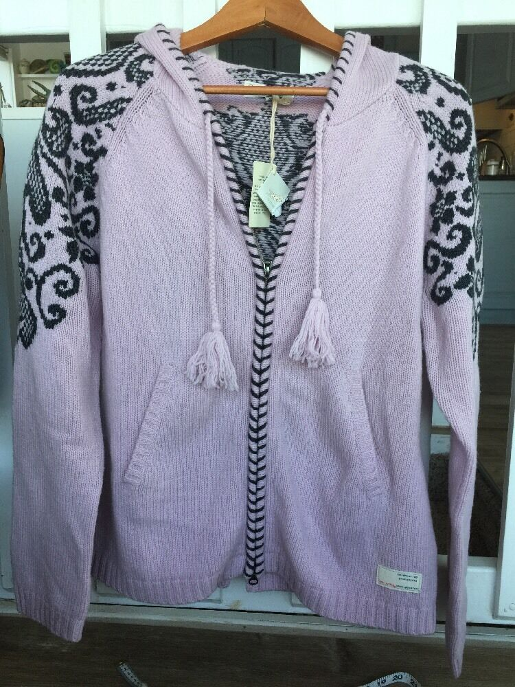 Nwt Anthropologie Odd Molly purplec Hooded Intarsia Hooded Cardi L