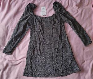 ZARA NEU Gr. XL drapiertes Kleid schwarz weiß mit Punkten ...