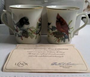 Lenox Catherine McClung Winter Greetings set of 2 fine porcelain mugs with COA