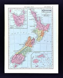 1908 McNally Map - New Zealand Tasmania Fiji Islands - Wellington Aukland Nelson