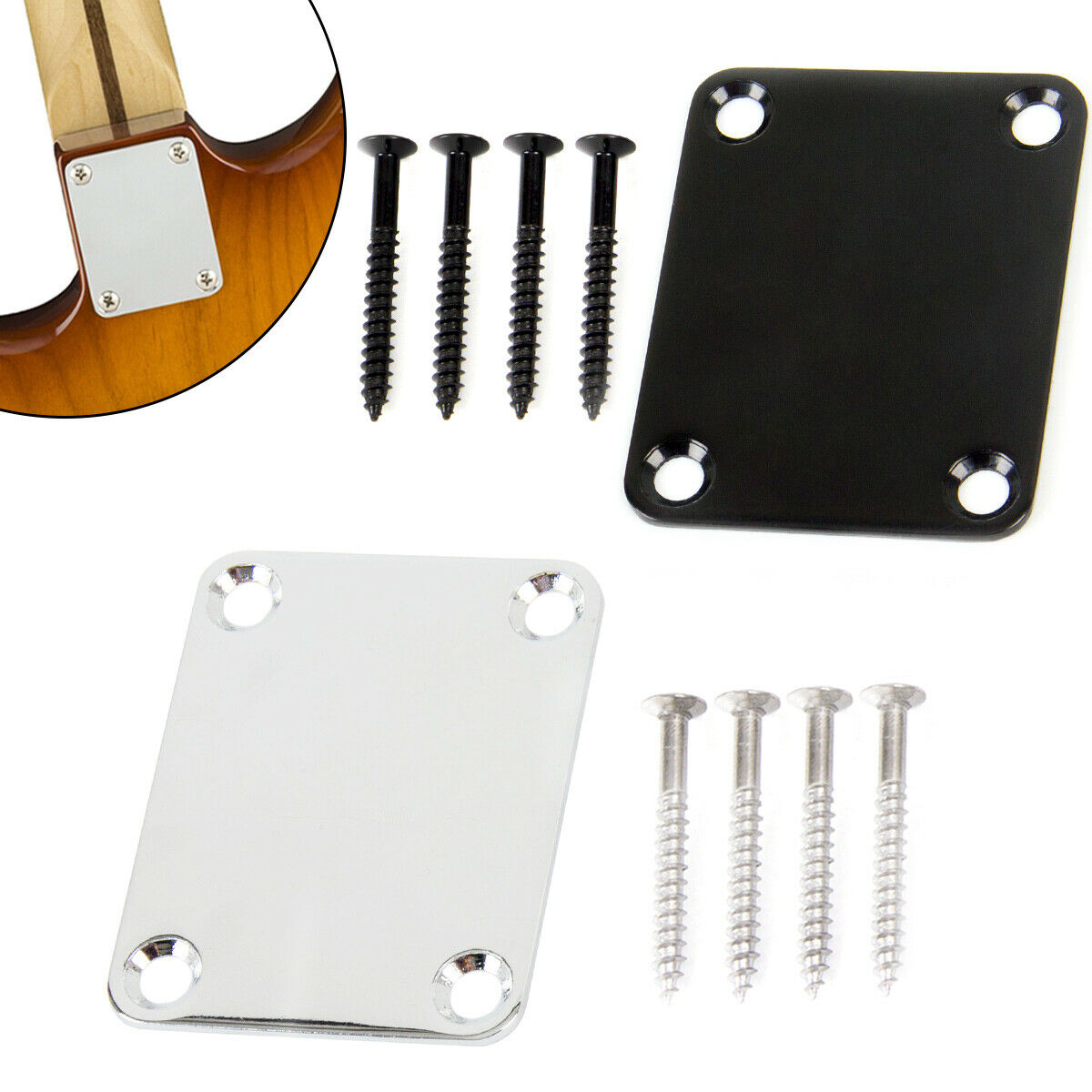 Electric Guitar Neck Plate /& 4 Screws For Strat//Tele Style Electric Guitar Gold /& Black